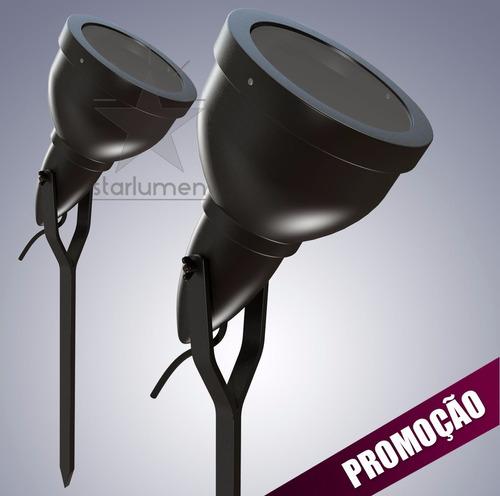 kit iluminacao jardim:Kit 9 Espeto Jardim Alumínio Luminária Preto E27 Par 20 – R$ 233,10