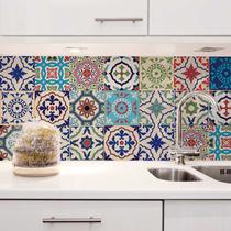 Adesivo Azulejo Cozinha Antigo 20x20 Colorido Santa Cruz