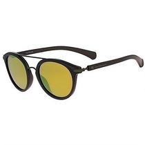 Óculos De Sol Calvin Klein Jeans Round Preto Lente Amarela
