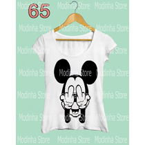 Camiseta Babylook Feminina Minnie Mickey Mouse Mal Dedo Bad