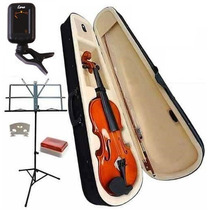 Kit Violino 4/4 Case, Breu, Partitura, Afinador E Arco