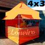 Lona 300 América Laranja E Branca Para Barraca De Feira 3x4