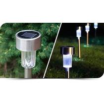 Kit 10 Luminárias Led À Luz Solar Para Jardim Em Aço Inox
