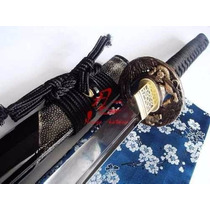 Katana Afiada Aço Damasco Negro Duplo1060+1095 Forjada