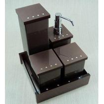 Kit Potes Para Banheiro Em Acrílico Chocolate Com Strass