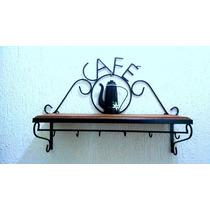 Prateleira Rústica Café Em Ferro E Madeira Tradada