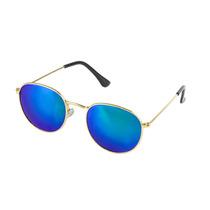 Óculos De Sol Feminino Round Dourado Lente Espelhada Azul
