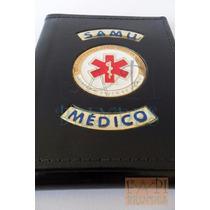 Carteira Em Couro Legítimo Doutor Médico Samu Medicina C80p