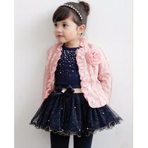 Conjunto Saia+camisa+casaco Infantil Meninas Importado