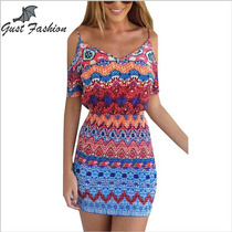 Vestido Feminino Multicolor Pescoço V Off The Shoulder