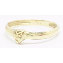 Promoção! Anel Aliança Feminina De Ouro 18k Coração