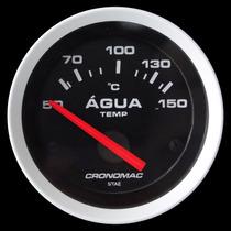 Termômetro Água Cronomac Sport 52mm Tuning Led Manômetro