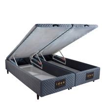 Base Box Baú Queen Size Herval Idea Cinza Tecido Antiácaro