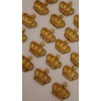 50 Apliques Coroa Príncipe Princesa Realeza Biscuit 3,7cm