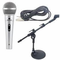 Microfone Profissional Mdc201 + Mini Pedestal De Mesa + Cabo