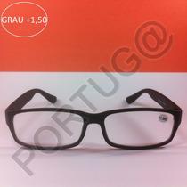 Armação Preta Grau +1,50 Óculos Leitura Ótica Pronta Entrega