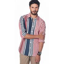 Camisa Slim Fit Algodão Premium Bruno Conte Vermelha E Azul