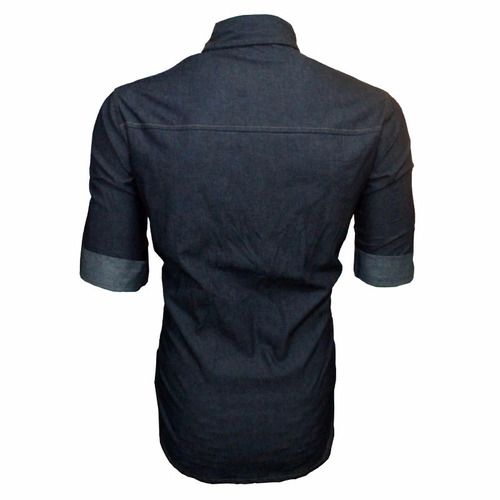 Camisa Fit Slim Masculina C/ Tecido Jeans Azul Manga Curta