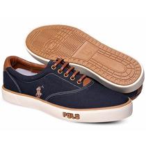 Tênis Polo Sneaker Masculino Azul Marinho E Marrom