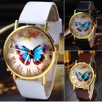 Relógio Feminino Borboleta Com Pulseira De Couro