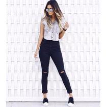 Calça Lady Rock Customizada Feminina Cintura Alta Com Lycra
