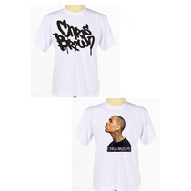 Kit C/ 2 Camisas Brancas Estampada Cantor Rapper Chris Brown