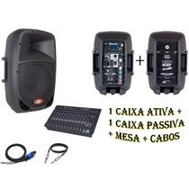 Caixa Ativa 8 + Caixa Passiva + Mesa Som + Cabos Brindes Kit