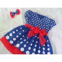 Vestido De Festa Azul Bolas Branca Galinha Pintandinha