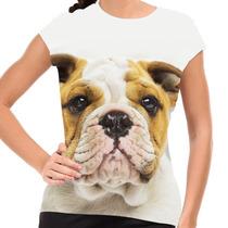 Camiseta Cachorro Bulldog Inglês Baby Look