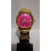 Relógio Feminino Ck Calvin Klein Dourado Mostrador Rosa
