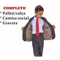 Terno Completo Infantil Microfibra + Gravata Camisa 2 Ao 16