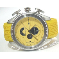 Relogio Porsche Regulator Amarelo Pulseira Borracha 48mm