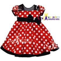 Vestido Infantil Festa Minnie Vermelho Luxo Com Tiara