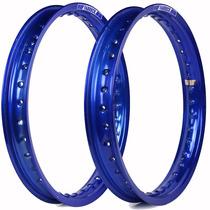 Aro De Moto Dianteiro E Traseiro Para Ybr 2000/2015 Azul