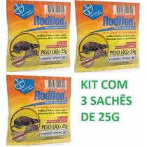 Veneno Mata Rato Rodilon Pellets Bayer Kit C/ 3 Sachês 25gr