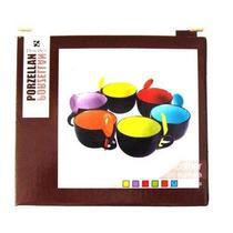 Kit 6x Caneca Sopa Bowl Com Colher - 100% Cerâmica 500 Ml