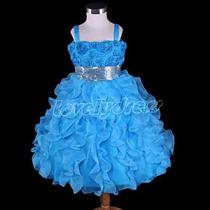 Vestido Infantil Festa. Princesa, Daminha. Azul. Lindo !