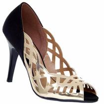 Sapato Peep Toe Vizzano Detalhe Vazado Metalizado 1784531