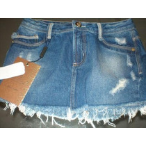 Lança Perfume Mini Saia Jeans Detalhes Destroyed 36 P