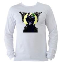 Camiseta Adulto Manga L. Batman Bat Man Coringa Joker C