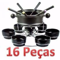 Conjunto Fondue 16 Peças Antiaderente / Aço Inox 6 Garfos