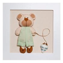 Quadrinho Decorado Quarto Bebê Infantil Verde Urso Com Pião