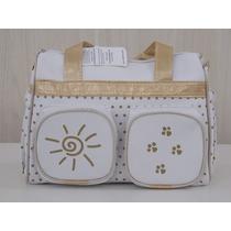 Bolsa Frasqueira Bebê Nenê Belo Biscayne Branco E Dourado