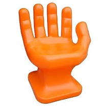 Cadeira Plastica Formata Mão Grande Decorativa - Laranja