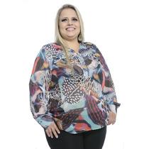 Camisa Feminina Musseline Estampada Plus Size #ref: 2554