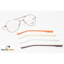 Óculos Troca Hastes Aviador Metal Dourado - Armação P/ Grau