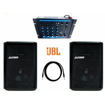 Kit Caixa De Som Ativa Jbl + Passiva 400w Rms Datrel + Mesa