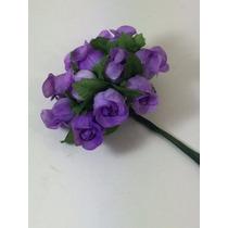 144 Mini Rosas Lilás Flores Rosinhas Artificiais Cetim