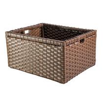 Cesto Caixote Caixa Fibra Sintética Argila Marrom 40x32x21