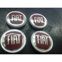 Jogo Calotinha Centro De Roda Modelo Trw 60mm Emblema Fiat